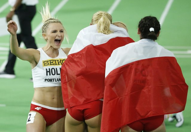 Poland's women's 4x400 relay team members celebrate after winning the silver medal during the IAAF World Indoor Athletics Championships in Portland, Oregon March 20, 2016. (Photo by Lucy Nicholson/Reuters)