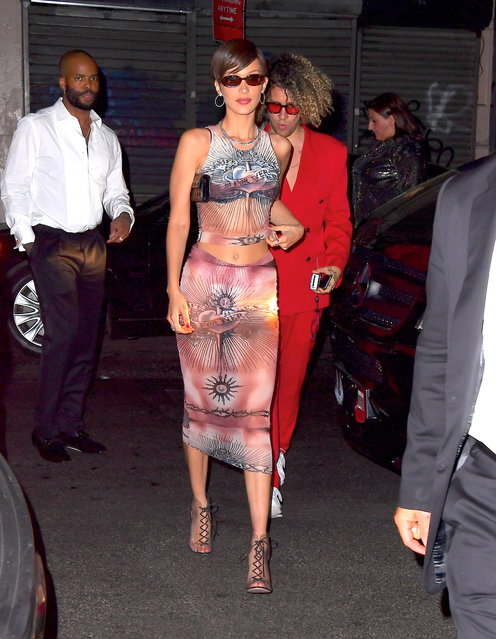 Bella Hadid Arrives Solo to Harry Styles' Met Gala After Party on May 7, 2019. (Photo by DIGGZY/Splash News and Pictures)