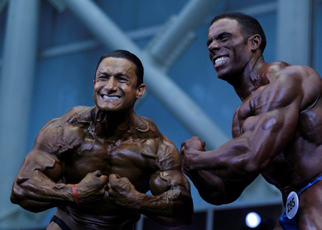 Participants are seen during the Mr. Olympia Amateur South America bodybuilding competition in Medellin, Colombia, February 19, 2017. (Photo by Fredy Builes/Reuters)