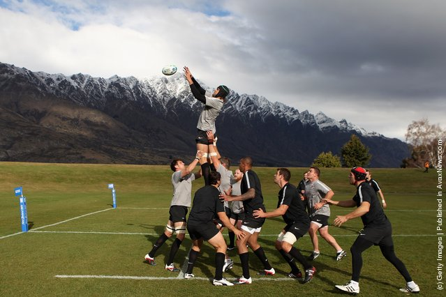 Tom Palmer catches the ball during an England IRB Rugby World Cup 2011 training session at Queenstown Events Centre