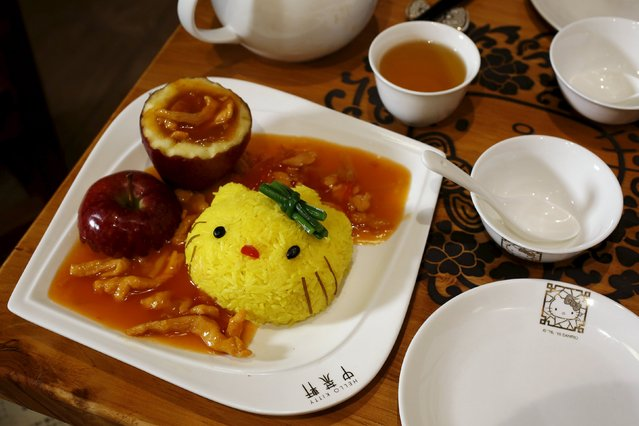 A decorated dish of rice with pork and apple is seen at a Hello Kitty-themed Chinese restaurant in Hong Kong, China May 21, 2015. (Photo by Bobby Yip/Reuters)