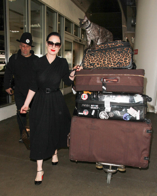 Dita Von Teese is seen at LAX in Los Angeles, California on March 6, 2017. (Photo by Starzfly/Bauergriffin.com)