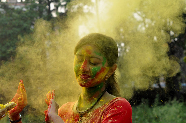 Indian Students of Rabindra Bharati University at the BT Road Campuses Celebrates the Holi, Color Festival on March 09, 2017 in Kolkata.Holi, the popular Hindu spring festival of colours is observed in India at the end of the winter season on the last full moon of the lunar month, and will be celebrated on March 13 this year. (Photo by Debajyoti Chakraborty/NurPhoto)