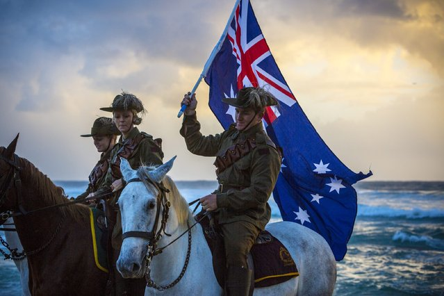 Members of the Light Horse brigade take part in the Anzac Day dawn service held by the Currumbin RSL at Currumbin Surf Life Saving Club on the Gold Coast in Currumbin, Australia, 25 April 2016. The Anzac day marks the landing of the Australian and New Zealand Army Corps (Anzac) troops at Gallipoli in what is today Turkey during WWI. World War One, also called the Great War, according to official statistics cost more than 37 million military and civilian casualties between 1914 and 1918. (Photo by Glenn Hunt/EPA)