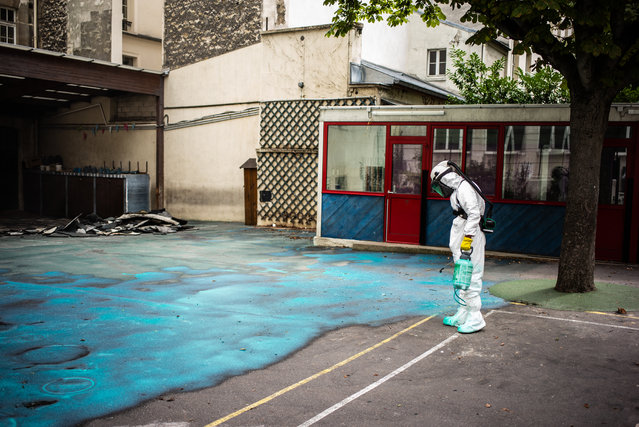A worker sprays a gel on the ground to absorb lead as he takes part in a clean-up operation at Saint Benoit school near Notre-Dame cathedral in Paris during a decontamination operation on August 8, 2019. Paris officials moved on August 6, 2019 to downplay the risk of lead poisoning from the massive fire that tore through Notre-Dame cathedral in April, as tests continue to show worrying levels of the toxic metal at nearby schools. Hundreds of tonnes of lead in the roof and steeple melted during the April 15 blaze, which nearly destroyed the gothic masterpiece, releasing lead particles that later settled on surrounding streets and buildings. (Photo by Martin Bureau/AFP Photo)
