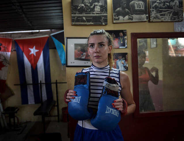 French boxer Ana Gasquez trains in a gym of Havana, on May 14, 2019. Cuba is one of the world's leading power in boxing but deprives women of getting into a prefessional boxing ring. (Photo by Yamil Lage/AFP Photo)