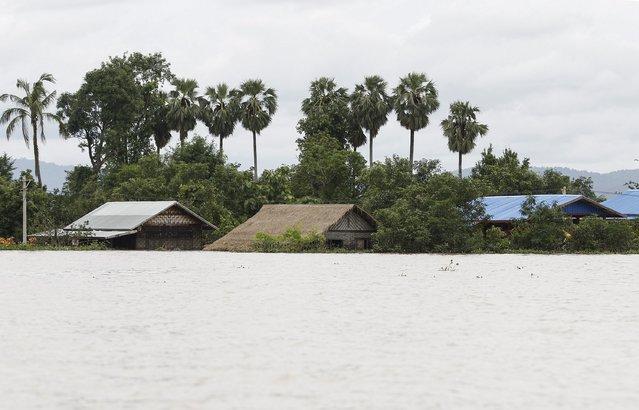 A flooded village seen in Kawlin township, Sagaing division, Myanmar, July 21, 2015. (Photo by Soe Zeya Tun/Reuters)