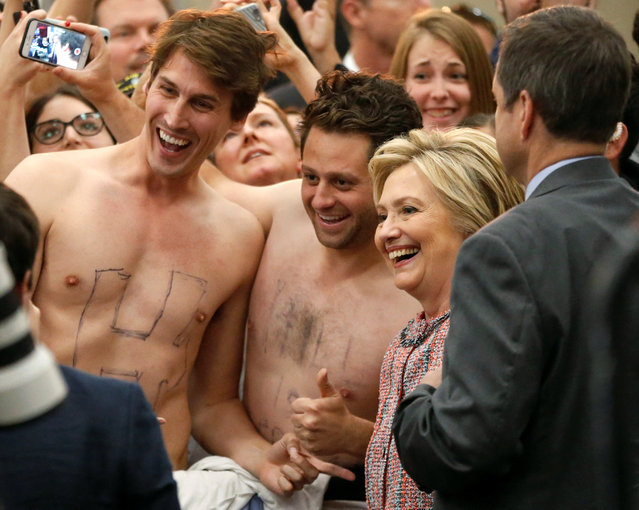 U.S. Democratic presidential candidate Hillary Clinton takes a photo with supporters John Nelson, 32, (L) and Dan Stifler, 32, (C) after speaking at the UFCW Union Local 324 in Buena Park, California, U.S. May 25, 2016. (Photo by Lucy Nicholson/Reuters)