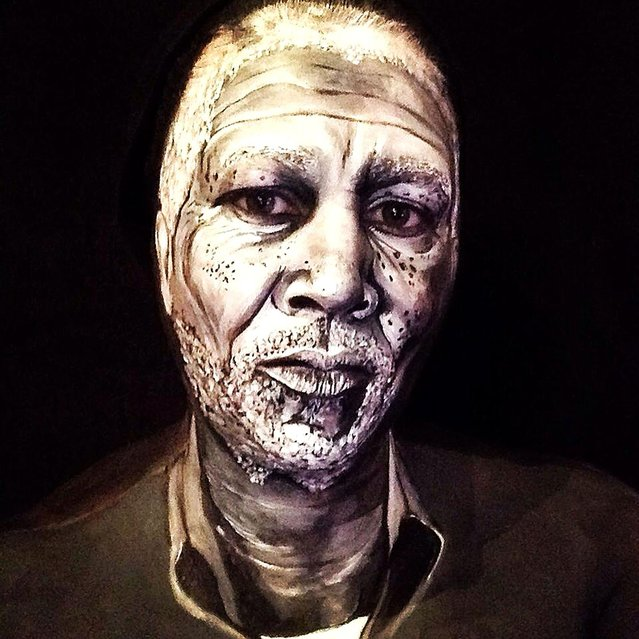 Morgan Freeman face paint. 40-year-old London-based makeup artist, Maria Malone-Guerbaa has the ability to transform herself into any celebrity or creature using only her basic makeup essentials. Maria used only make up and face paints to create the illusion of Nelson Mandela, Britain's Queen Elizabeth II, and many other A-list celebrities. (Photo by Maria Malone-Guerbaa/Rex Features USA)