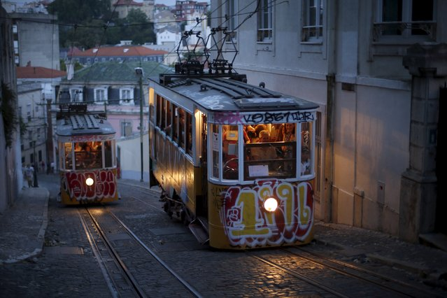 Trams are seen in downtown Lisbon, Portugal July 30, 2015. (Photo by Rafael Marchante/Reuters)