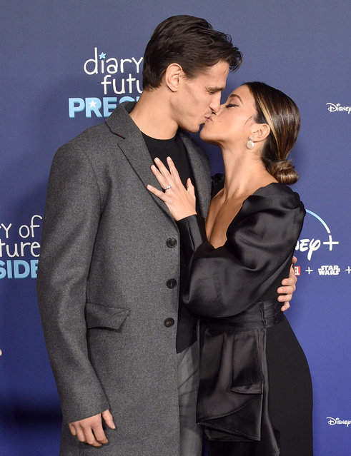 """Gina Rodriguez and husband Joe LoCicero attend the premiere of Disney's """"Diary Of A Future President"""" at ArcLight Cinemas on January 14, 2020 in Hollywood, California. (Photo by Gregg DeGuire/Getty Images)"""