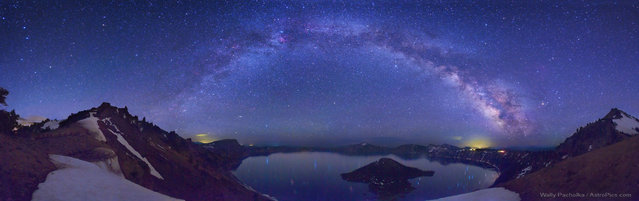The Milky Way above the crater lake