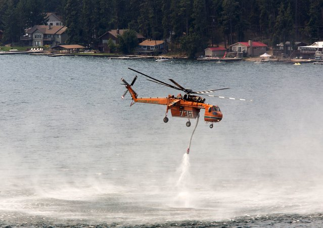A firefighting helicopter fills up with water from Lake Chelan before making a drop during First Creek Fire in Chelan, Washington, August 21, 2015. President Barack Obama signed a federal declaration of emergency for Washington state on Friday, authorizing the U.S. Department of Homeland Security and the Federal Emergency Management Agency to coordinate relief efforts in 11 counties and several Indian reservations hard hit by wildfires. (Photo by Jason Redmond/Reuters)