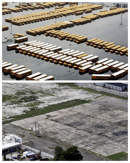 This combination of September 1, 2005 and July 29, 2015 aerial photos show buses parked in a lot flooded by Hurricane Katrina in downtown New Orleans, and the same area a decade later. (Photo by Phil Coale/Gerald Herbert/AP Photo)