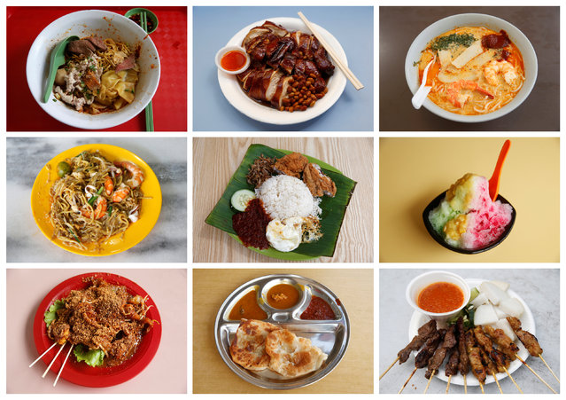 A combination photo shows various popular street foods under $6 from various hawker food stalls and eateries in Singapore, taken between July 28 to 31, 2016. Top row (L to R) bak chor mee, soya sauce chicken; Middle row (L to R) laksa, hokkien mee, nasi lemak, ice kachang; Bottom row (L to R) rojak, roti prata and satay. (Photo by Edgar Su/Reuters)