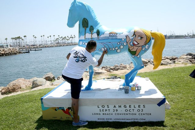 A live art installation is seen during the Longines Masters of Los Angeles preview at Shoreline Aquatic Park on August 29, 2016 in Long Beach, California. (Photo by Phillip Faraone/Getty Images for EEM/Longines Masters of Los Angeles)