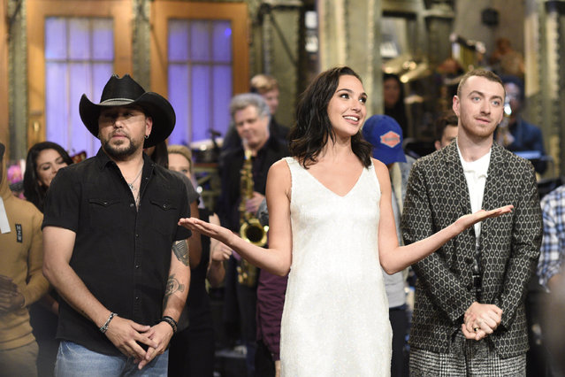 """Jason Aldean, Gal Gadot and Sam Smith during """"Goodnights & Credits"""" in Studio 8H on October 7, 2017. (Photo by: Will Heath/NBC/NBCU Photo Bank via Getty Images)"""