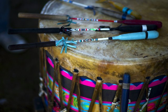 "A drum used by revellers is pictured during a ""pow-wow"" celebrating the Indigenous Peoples' Day Festival in Randalls Island, New York, October 11, 2015. (Photo by Eduardo Munoz/Reuters)"