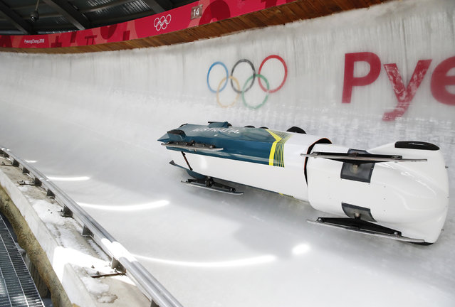 Lucas Mata, David Mari, Lachlan Reidy and Hayden Smith of Australia crash in men's 4-man bobsleigh training during the 2018 Winter Olympic Games, at the Olympic Sliding Centre in Pyeongchang, South Korea on February 21, 2018. (Photo by Arnd Wiegmann/Reuters)