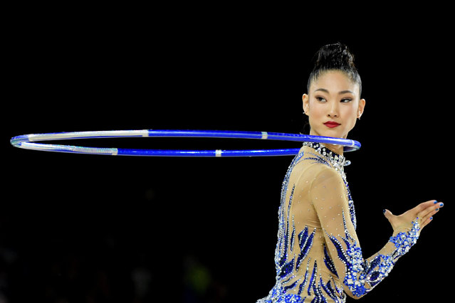 Enid Sung of Australia in action during the Individual Hoop final on day nine of competition of the XXI Commonwealth Games, at the Coomera Indoor Sports Centre on the Gold Coast, Queensland, Australia, 13 April 2018. (Photo by Tracey Nearmy/EPA/EFE)