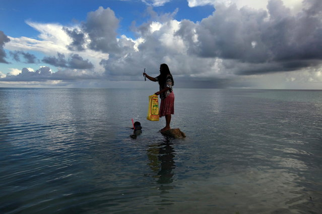 Binata Pinata stands on top of a rock holding a fish her husband Kaibakia just caught off Bikeman islet, located off South Tarawa in the central Pacific island nation of Kiribati May 25, 2013. (Photo by David Gray/Reuters)