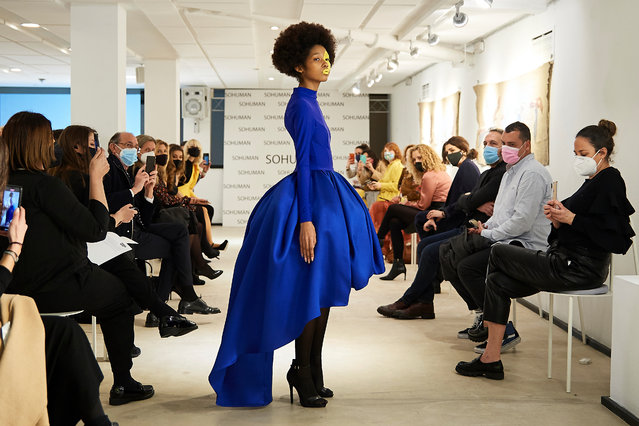 """A model walks the runway during the """"Relieve"""" fashion show at the White Lab Gallery on February 17, 2021 in Madrid, Spain. (Photo by Carlos Alvarez/Getty Images)"""