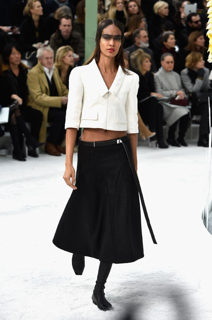 Model Joan Smalls walks the runway during the Chanel show as part of Paris Fashion Week Haute Couture Spring/Summer 2015 on January 27, 2015 in Paris, France. (Photo by Pascal Le Segretain/Getty Images)