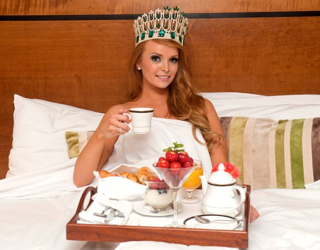 Aoife Walsh enjoys her first morning as Miss Ireland 2013. (Photo by Patrick O'Leary)