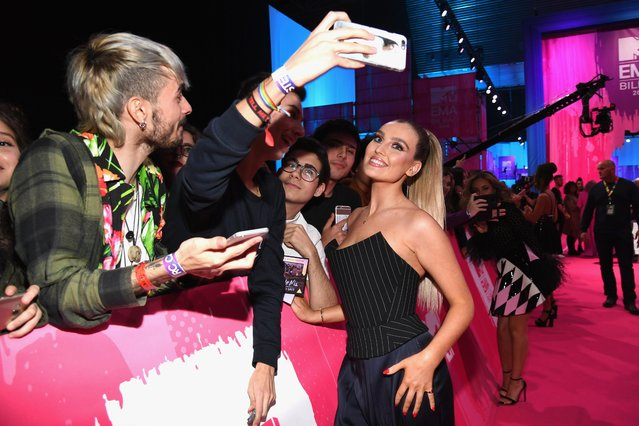 Perrie Edwards of Little Mix attends the MTV EMAs 2018 at Bilbao Exhibition Centre on November 4, 2018 in Bilbao, Spain. (Photo by Jeff Kravitz/FilmMagic)