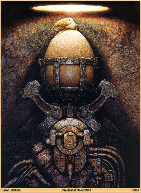 Egg Clock. Artwork by Oscar Chichoni