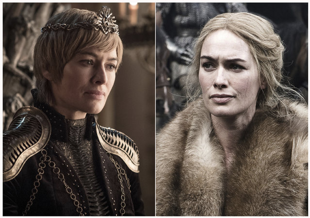 "This combination photo of images released by HBO shows Lena Headey portraying Cersei Lannister in ""Game of Thrones"". The final season of the popular series premieres on April 14. (Photo by HBO via AP Photo)"