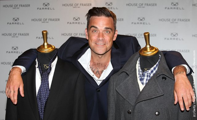 Robbie Williams launches his new clothing range 'Farrell' at House of Fraser