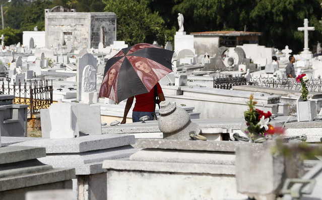 A woman walks among tombstones in the Colon Cemetery during Mother's Day in Havana, Cuba, Sunday, May 10, 2015. (Photo by Desmond Boylan/AP Photo)
