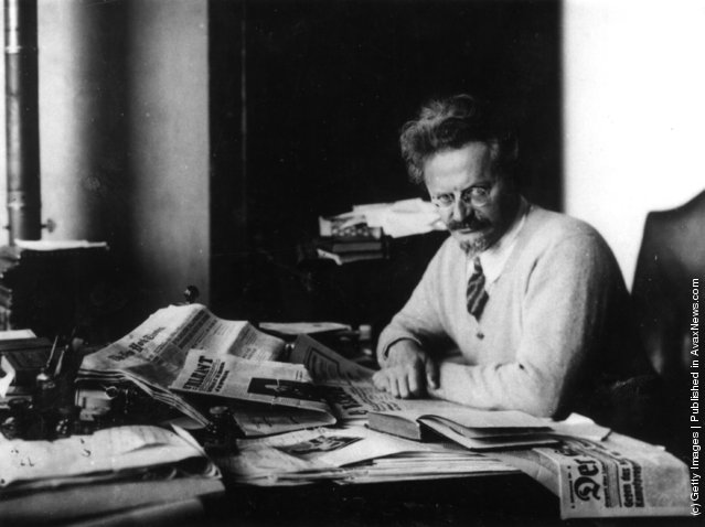 Russian revolutionary Leon Trotsky working on his book 'The History of the Russian Revolution' in his study at Principe, Gulf of Guinea, 1931