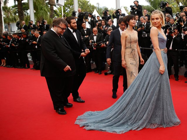 """Offcial Jury Members Guillermo del Toro, Jake Gyllenhaal, Joel Coen, Sophie Marceau and Sienna Miller attend the closing ceremony and Premiere of """"La Glace Et Le Ciel"""" (Ice And The Sky) during the 68th annual Cannes Film Festival on May 24, 2015 in Cannes, France. (Photo by Tristan Fewings/Getty Images)"""