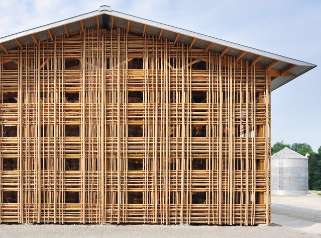 Barn B, Kentucky, USA, by De Leon & Primmer. This simple-looking latticed hay shed is on Mason Lane Farm in Goshen. While its form resembles agricultural structures, its material – bamboo – is highly unusual for the southern US state. (Photo by Roberto de Leon/The Guardian)