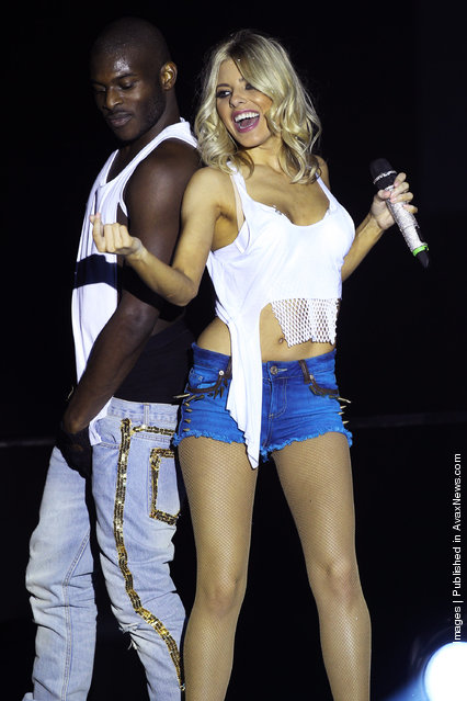 Mollie King of The Saturdays performs for a dress rehearsal before the first night of their 'All Fired Up!' tour