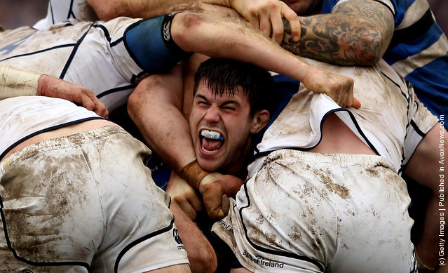 Guy Mercer of Bath in a scrum during the Heineken Cup match between Bath Rugby and Leinster at Recreation Ground