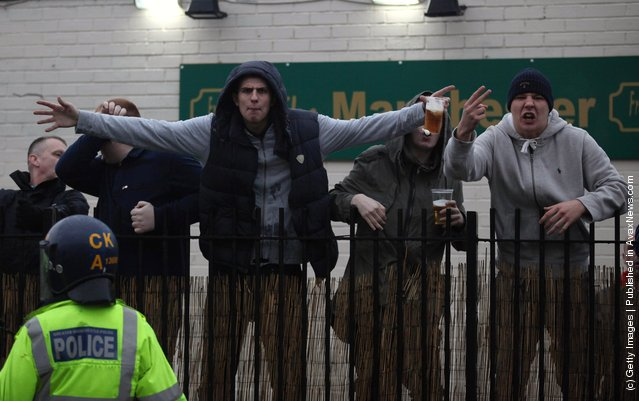Supporters Of Both Sides From Manchester Prepare For The FA Cup Clash
