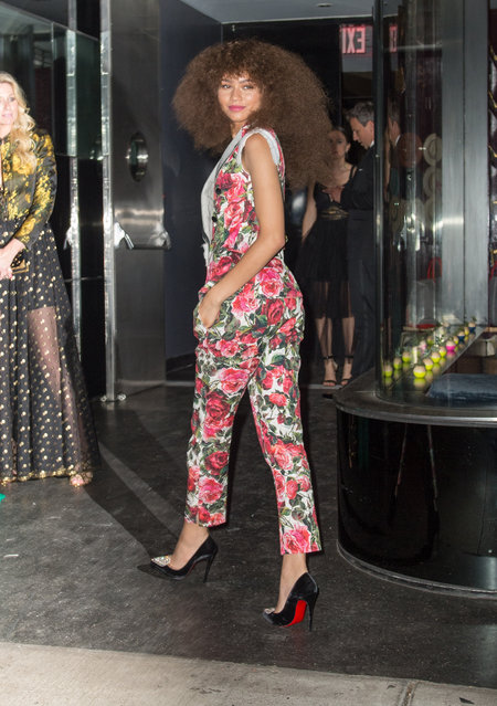 Zendaya suffers unfortunate wardrobe malfunction after going bra-less to the Met Gala after party in New York City, New York, USA. (Photo by PC -NWP/Splash News and Pictures)
