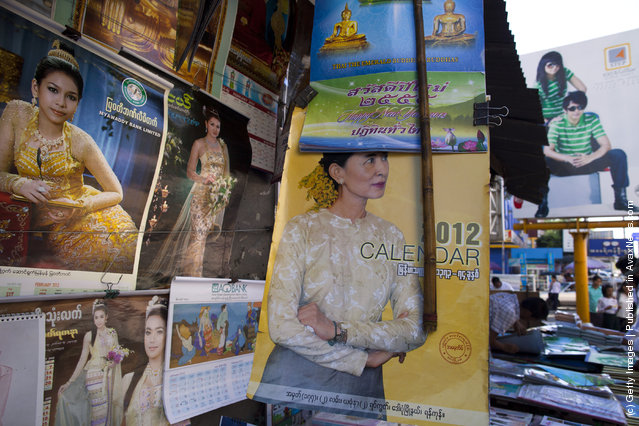 2012 calendar showing Aung San Suu Kyi  is for sale along the city streets in Yangon, Myanmar