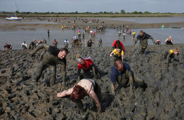 Participants arrive at the finish line during the annual Maldon Mud Race in Maldon, east England on May 7, 2017. Originating in 1973, the race involves competitors racing around a course through the River Blackwater in Essex at low tide. (Photo by Daniel Leal-Olivas/AFP Photo)