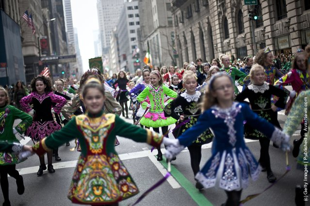 The Irish Dancing Music Association marches during the 251st annual St. Patrick's Day Parade March 17, 2012 in New York City
