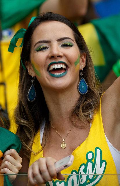 Brazil fans; 2014 FIFA World Cup, Semi Finals, Brazil v Germany, Estadio Mineirao de Belo Horizonte, Belo Horizonte, Brazil, on 08 Jule 2014. (Photo by Ben Queenborough/BPI/REX Features)