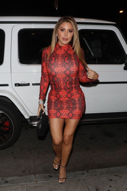 Larsa Pippen wears a tight snakeskin dress as she heads to the Delilah restaurant in West Hollywood on January 16, 2020. (Photo by Photographer Group/The Mega Agency)