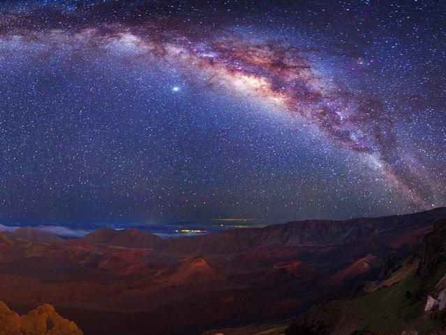 The Milky Way above the crater of Haleakala volcano on Maui, Hawaii