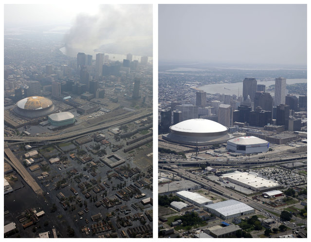 This combination of September 3, 2005 and July 29, 2015 aerial photos show downtown New Orleans flooded by Hurricane Katrina, and the same area a decade later. (Photo by David J. Phillip/Gerald Herbert/AP Photo)