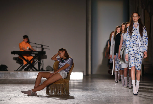 Models wear creations for Arthur Arbesser women's Spring-Summer 2016 collection, part of the Milan Fashion Week, unveiled in Milan, Italy, Monday, September 28, 2015. (Photo by Luca Bruno/AP Photo)