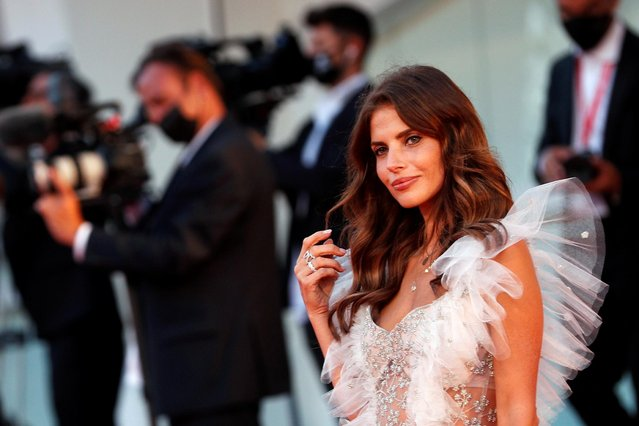 """Polish actress and a member of European Film Academy Weronika Rosati walks the red carpet ahead of the movie """"Sniegu Juz Nigdy Nie Bedzie"""" (Never Gonna Snow Again) at the 77th Venice Film Festival on September 07, 2020 in Venice, Italy. (Photo by Guglielmo Mangiapane/Reuters)"""
