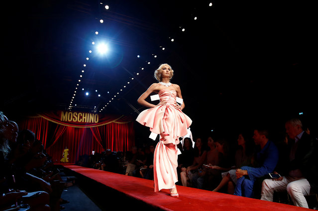 A model presents a creation at the Moschino fashion show during Milan Fashion Week Spring/Summer 2017 in Milan, Italy, September 22, 2016. (Photo by Alessandro Garofalo/Reuters)